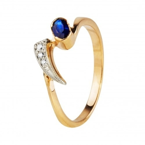 Продам золотое кольцо с бриллиантами и сапфиром